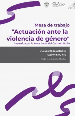 """Mesa de trabajo """"Actuación ante la violencia de género"""""""