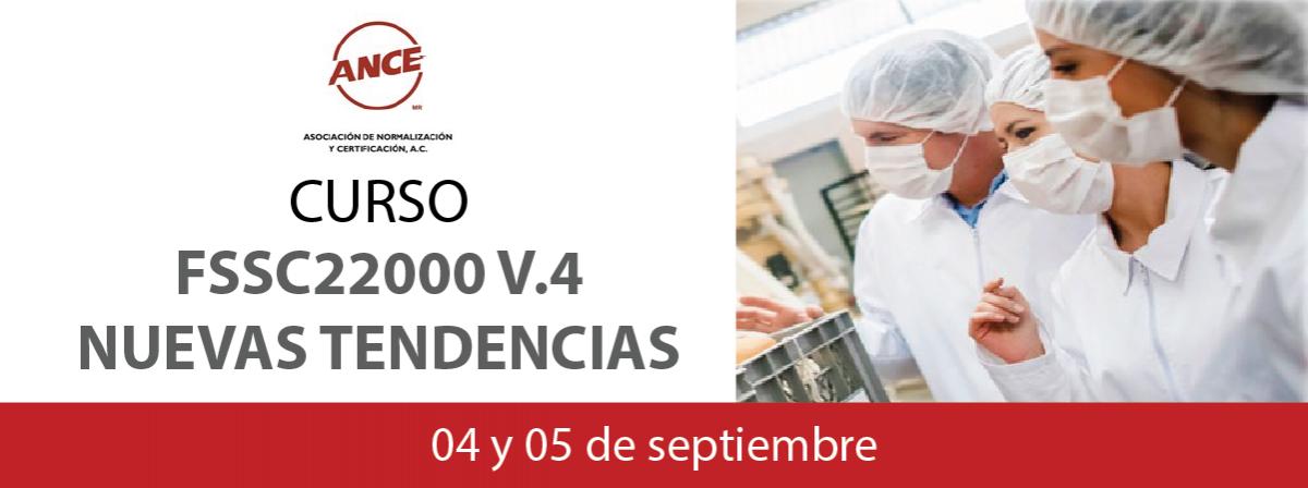 Baner informativo del curso de Nuevas tendencias FSSC22000 v.4, 04 y 05 de septiembre 2017